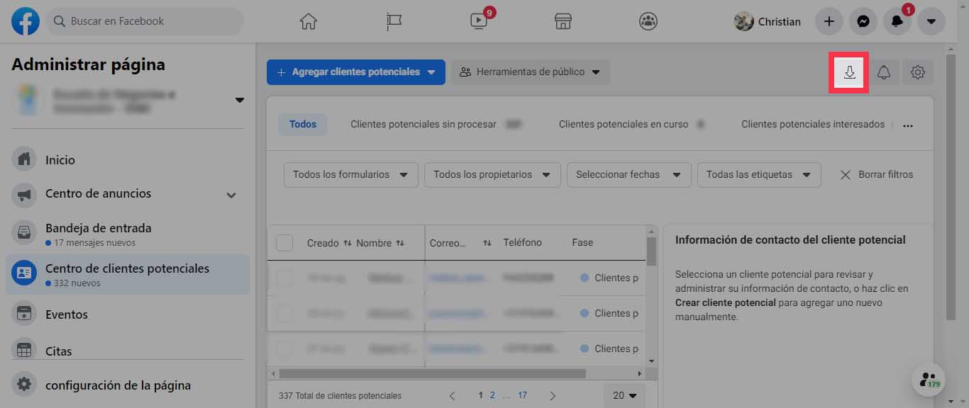 como descargar clientes potenciales de facebook ads - paso 2